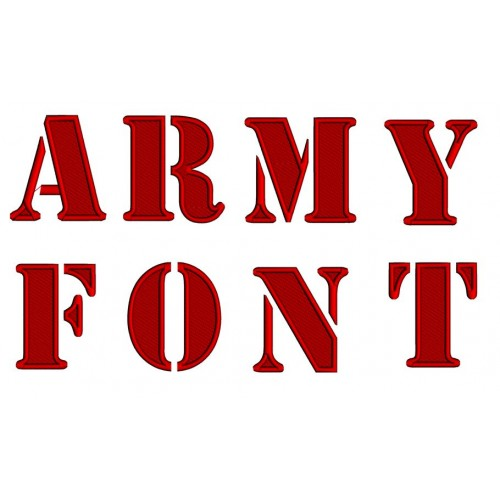 Army Embroidery Font Digitized Upper Case 1 2 3 inch Instant Download
