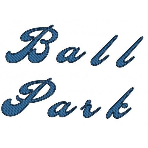 Ballpark Filled Embroidery Font Digitized Lower and Upper Case 1 2 3 inch Instant Download