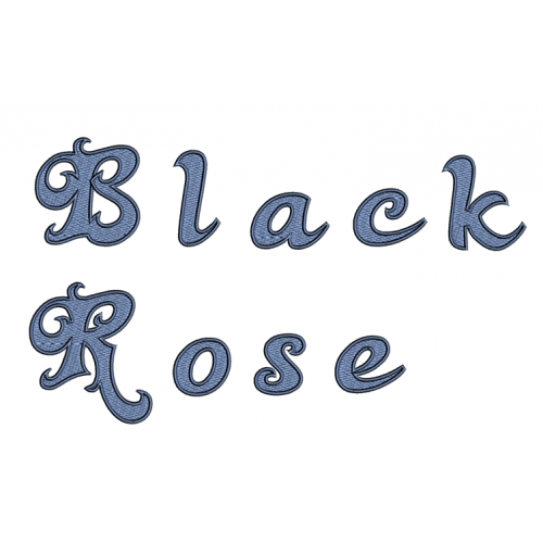 Black Rose Filled Embroidery Font Digitized Lower and Upper Case 1 2 3 inch Instant Download