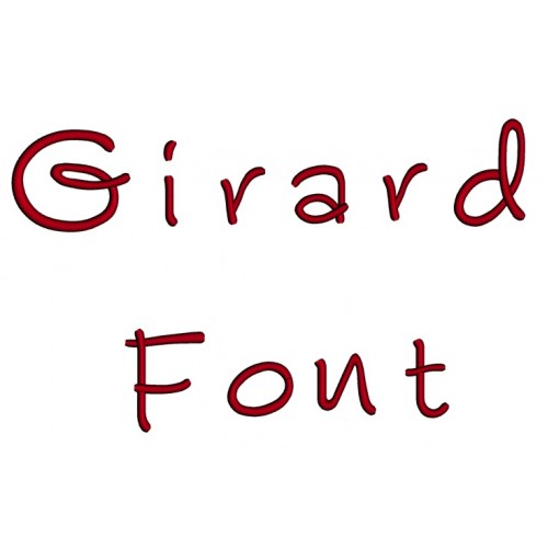 Girard Embroidery Font Digitized Lower and Upper Case 1 2 3 inch Instant Download