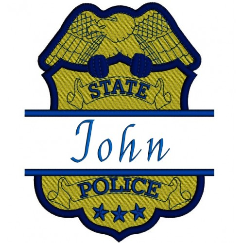 Police Badge Split Filled In Digitized Machine Embroidery Design Pattern