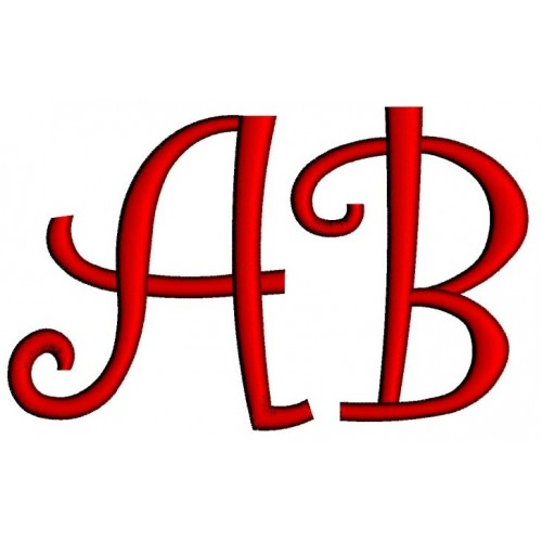 Curly Satin Stitch Monogram Machine Embroidery Upper Case Digitized Font Instant Download 1 2 3 inch