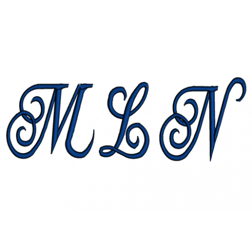 Curly Waves Monogram Machine Embroidery Font - Upper and lower Case