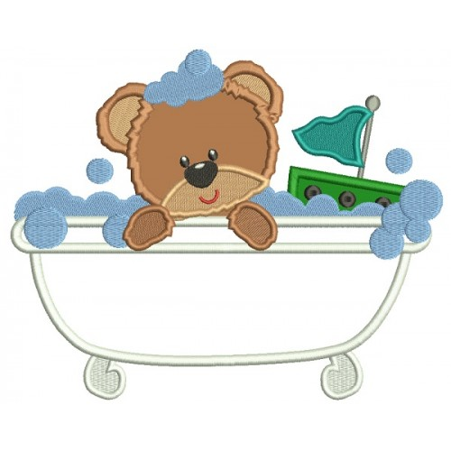 Baby Bear Playing In a Bathtub Applique Machine Embroidery Design Digitized Pattern